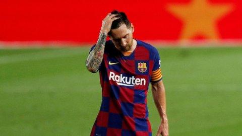 SKUFFET SUPERSTJERNE: Barcelona og Lionel Messi tapte mot Osasuna og måtte se Real Madrid vinne seriegullet torsdag kveld.