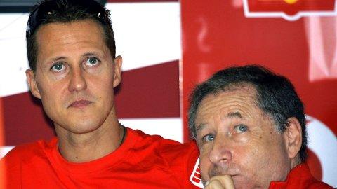 Michael Schumacher og Jean Todt er nære venner etter mange års samarbeid i Ferrari. Her fra Brasil Grand Prix i 2006.