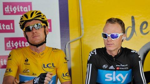 LAGKAMERATER: Bradley Wiggins var Skys kaptein i Tour de France 2012, men Chris Froome viste tidlig styrketegn i touren.