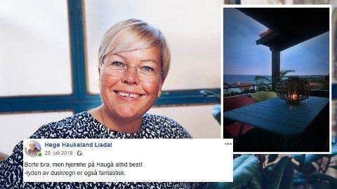 IKKE I ODDA: Mens Ap-politikeren Hege Haukeland Liadal ifølge reiseregningen overnattet i Odda, la hun ut statusoppdatering fra verandaen i Haugesund.