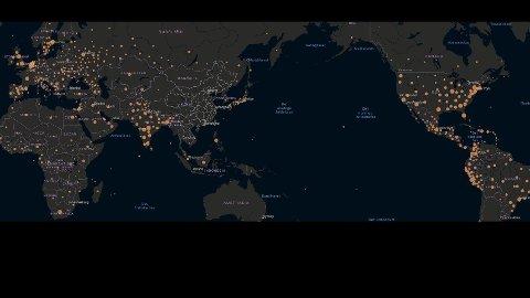 Kartet viser hvor i verden det er høyest antall aktive smittetilfeller rapportert per nå.