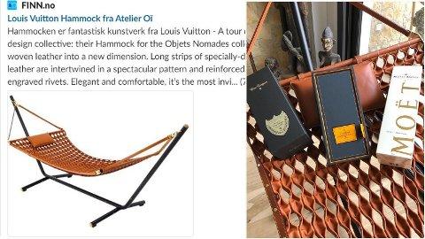 SLETTET ANNONSEN: Etter å ha lagt ut en hammock for salg til 380.000 norske kroner, valgte selgeren å slette annonsen.