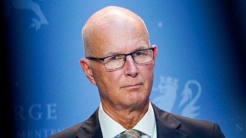 Helsedirektør Bjørn Guldvog under fredagens pressekonferanse om koronasituasjonen.