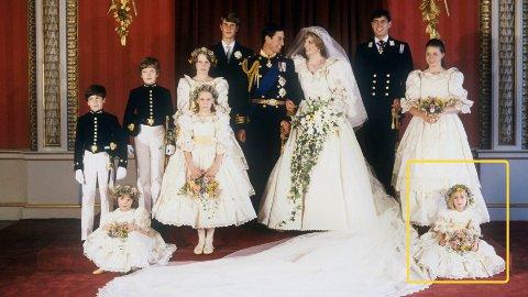 BRUDEPIKE: Clementine Hambro (foran til høyre) var brudepike da prins Charles giftet seg med Diana i 1981. 15 år senere reiste hun med Jeffrey Epsteins privatfly og ferierte på øya hans.