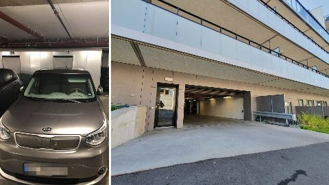 PARKERT I KJELLER: Denne stjålne bilen ble flere ganger parkert av uvedkommende i dette parkeringsanlegget. Ingen aner hvem som står bak.