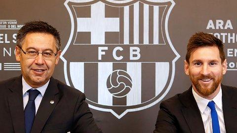 IKKE BESTEVENNER LENGER: Lionel Messi skal angivelig ikke være stor fan av klubbpresident i Barcelona, Josep Maria Bartomeu, lenger.