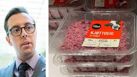 KREVER BEDRE MERKING: SV-politiker Nicholas Wilkinson vil ha bedre merking av importert kjøtt.