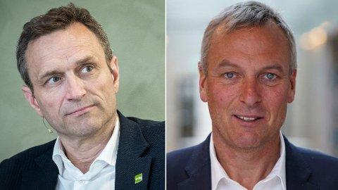 SLÅR TILBAKE: Rolf Thorsen i Selvaag Bolig (til høyre) avviser påstander fra politikerne om blant annet manglende sosialt ansvar. Arild Hermstad i MDG til venstre.