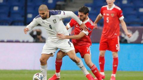 Aleksandar Mitrovic scoret målet for Serbia i torsdagens Nations League-kamp mot Russland, som Serbia tapte 1-3. I kveld venter hjemmekamp mot Tyrkia for Norges motstander i EM-playoffen.