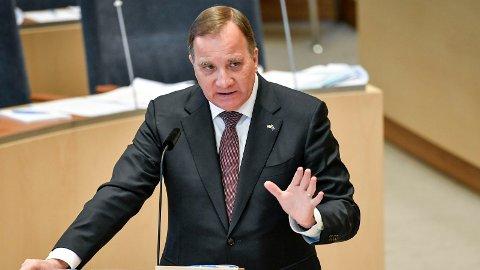SLÅR NED: Statsminister Stefan Löfven i Riksdagen tidligere i år.