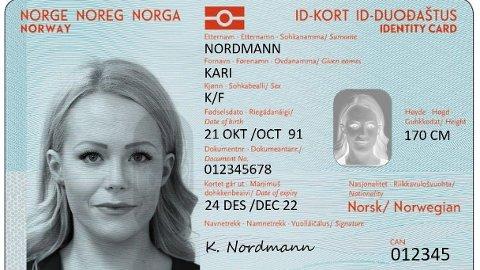 Slik vil de nye ID-kortene se ut. De vil være klare tidligst i januar neste år, ifølge en ny statusrapport.