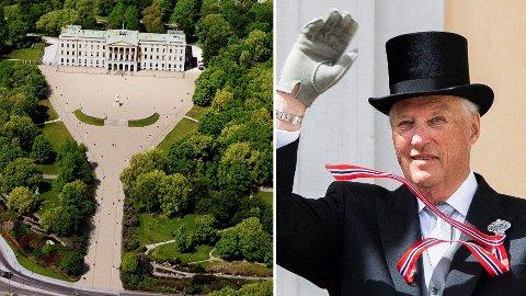 SOLKONGEN: Det kongelige slott er i gang med arbeidet for å sette opp solcellepanel på taket av kong Haralds slott.