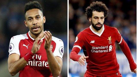 Premier League-stjernene Pierre-Emerick Aubameyang og Mohamed Salah delte toppscorertittelen for to år siden. Denne sesongen tror vi det bare blir en av dem som står igjen med Gullstøvelen.