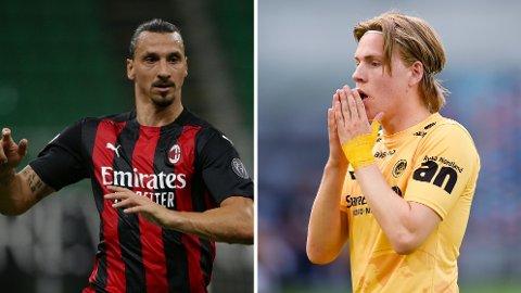 MØTES: Zlatan Ibrahimovic og Jens Petter Hauge møtes når AC Milan og Bodø/Glimt skal måle krefter i Europa League-kvalifiseringen.