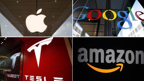 KAN BLI DYRT: Store amerikanske selskaper som Apple, Google, Tesla og Amazon har hatt en eventyrlig utvikling på børsen. Men norske investorer risikerer at en kronestyrking kan gjøre investeringen langt mindre lønnsom i fremtiden.