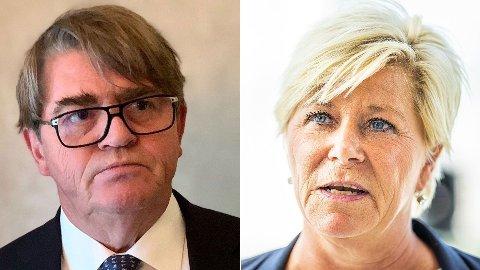 RIVENDE UENIGE: Siv Jensen og Jan Petter Sissener har havnet i ordkrig den siste tiden.