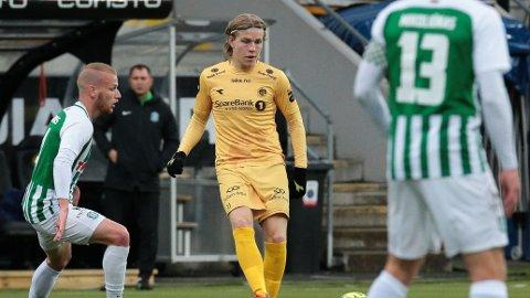 Bodø/Glimts Jens Petter Hauge i aksjon mot Zalgiris torsdag.