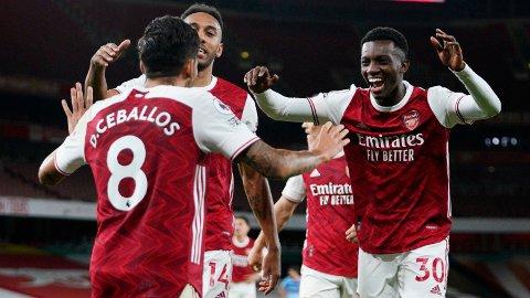 SEN SCORING: Eddie Nketiah ble matchvinner i lørdagens kamp mot West Ham.