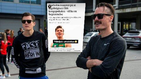 «Ydmjuk uttalelse»: Henrik Ingebrigtsen (t.h) serverte denne kommentaren på sin Instagram Story søndag kveld - over en skjermdump av et intervju med Karsten Warholm. Til venstre er Jakob Ingebrigtsen, som vant kongepokalen for menn i årets NM.