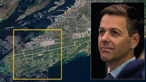 MILLIARDSLUK: Planen om å flytte Bodø lufthavn en kilometer vil koste nær syv milliarder kroner. Staten og samferdselsminister Knut Arild Hareide vil få storparten av regningen.