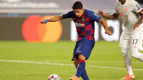 Luis Suarez fra Champions League-kvatfinalen mellom Barcelona og Bayern München. De tyske mesterne vant kampen 8-2.