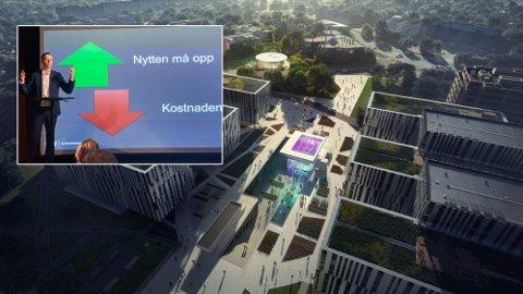 Fornebubanen, her illustrert med tidligere planer for stasjonen ved Telenor Arena, er kanskje det beste eksempelet på hva samferdselsminister Knut Arild Hareide vil forsøke å hindre ved å endre hele måten Nasjonal transportplan fungerer på. Planene for denne stasjonen er nå nedskalert.
