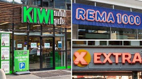LIKE: Lavpriskjedene Rema, Kiwi og Extra er svært like på pris.