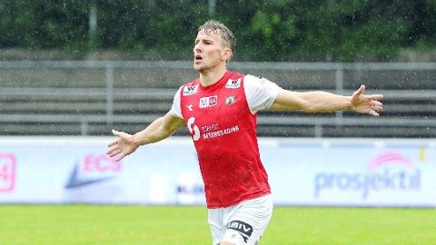 Joacim Holtan har scoret ni mål på ni kamper for Bryne denne sesongen. Foto: Tarjei Sel, Jærbladet