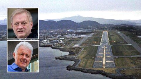 Rolf Kåre Jensen, rådmann i Bodø kommune (innfelt øverst), er på ingen som helst måte enig i kritikken fra Gunnar Stavrum (innfelt nederst) rundt flytting av Bodø lufthavn og fremtidig utvikling av byen.