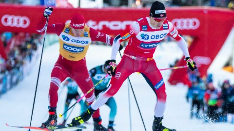 UTEN FLUOR: Forrige sesong kunne Klæbo og Bolsjunov bruke ski med fluor-smurning. Denne sesongen kan de egentlig ikke det, men det mener langrennsekspert Torbjörn Nordvall bør endres.