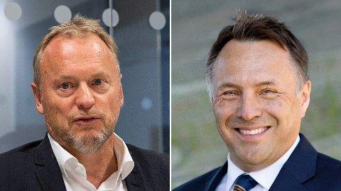Partikameratene Raymond Johansen (t.v.) og Tore O. Sandvik mener det er på tide med en mer aktiv næringspolitikk med sterk styring fra stat og kommuner.
