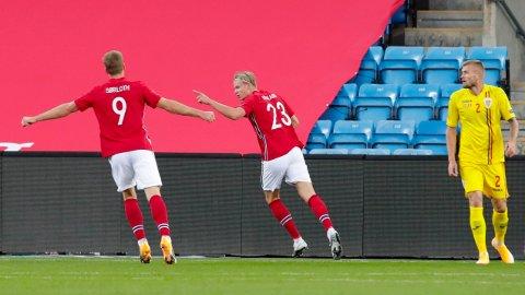Erling Braut Haaland jubler etter scoring mot Romania på Ullevaal stadion. Foto: Vidar Ruud / NTB