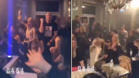 SOSIAL DISTANSERING: Det var lite sosial distansering blant festdeltakerne på denne nattklubben i helgen.
