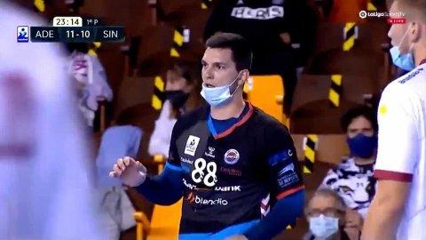 MUNNBIND: Slik måtte spillerne i den spanske divisjonen gjennomføre kampene nylig.