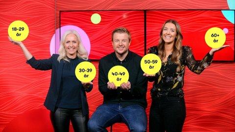 FRA UNG TIL GODT VOKSEN: Disse aldersgruppene får garantert én Lotto-millionær hver 24. oktober. Ingrid Roterud Mathisen (t.v.), Lars Hulleberg og Ina Taasaasen i Norsk Tipping gleder seg.