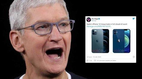 Her er sjefen i Apple, Tim Cook. Innfelt er et bilde av det som skal være den nye iPhone12.