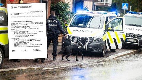 Politiansatte som skal være instruktør for studenter får tilsendt et brev med forventninger Politihøgskolen stiller til dem før kursingen. Bildet av politiet på utrykning er tatt i en annen sammenheng og brukes her som illustrasjon.