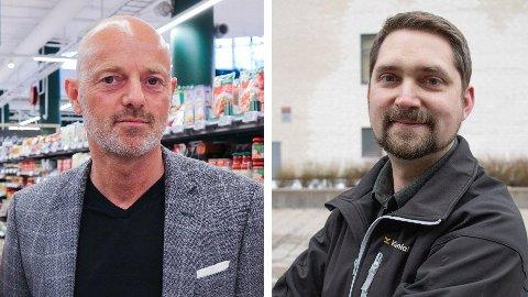 IKKE FORNØYDE: Både Bjørn Takle Friis, kommunikasjonsdirektør i Coop Norge, eller Karl Munthe-Kaas, administrerende direktør i Kolonial.no, misliker at de får dårligere innkjøpsbetingelser enn Norgesgruppen.