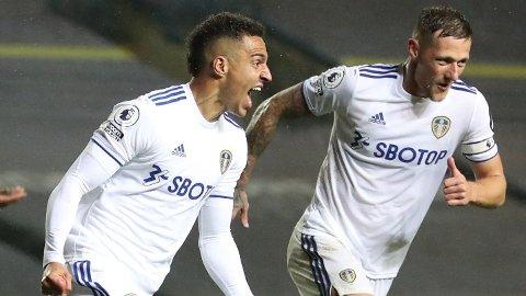 Leeds-spiss Rodrigo jubler etter å ha scoret 1-1-målet mot Manchester City.