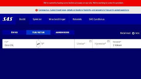 NEDE: SAS' nettsider var nede mandag morgen.