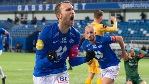 Moldes Magnus Wolff Eikrem jubler vilt etter 1-1-scoringen mot Bodø/Glimt i helgen.