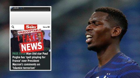Paul Pogba har reagert sterkt på avisoppslag i England.