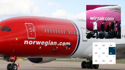HEFTIG PRISPRESS: Flere Norwegian-ruter er presset kraftig ned i pris etter at Wizz Air etablerte ruter på de samme reisemålene. Plutselig koster Oslo-Bergen 199 kroner - med Norwegian.