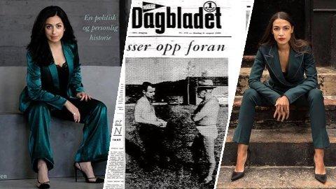 Hadia Tajik, Per Borten ogAlexandra Ocasio-Cortez. Alle tre politikere - men med vidt forskjellige utgangspunkt for bekledning i møte med offentligheten.