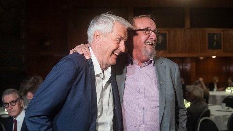 Ifølge Thorbjørn Jagland la ikke Yngve Hågensen fingrene imellom da han beskrev hvordan Thorbjørn Jagland ble behandlet av sine egne i Arbeiderpartiet. Her er de to fotografert sammen i 2019, under et internasjonalt seminar i regi av Arbeiderpartiet og LO i forbindelse med at Thorbjørn Jagland gikk av som leder av Europarådet.