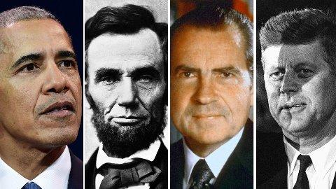 Barack Obama, Abraham Lincoln, Richard Nixon og John F. Kennedy. Litt lenger ned kan du teste kunnskapene dine om de som har hatt embedet som verdens mektigste mann.