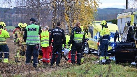 Et tre falt over en bil i Hokksund mandag formiddag.