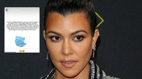 Kourtney Kardashian får kjeft for å ha spredd usannheter om engangs-munnbind og faren for kreft.