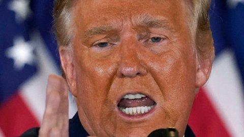 GÅR MOT NEDERLAG: Det går mot nederlag for Donald Trump, og nå har kronen styrket seg kraftig.