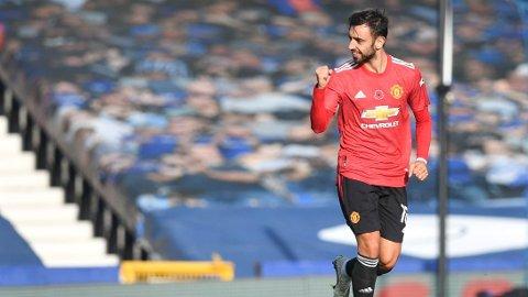 Bruno Fernandes hadde en meget god førsteomgang for Manchester United borte mot Everton.